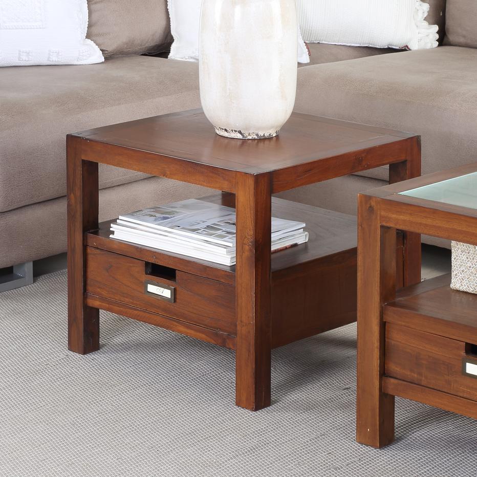 Bali table basse d 39 angle bois 50x50 banak importa for Meuble 50x50