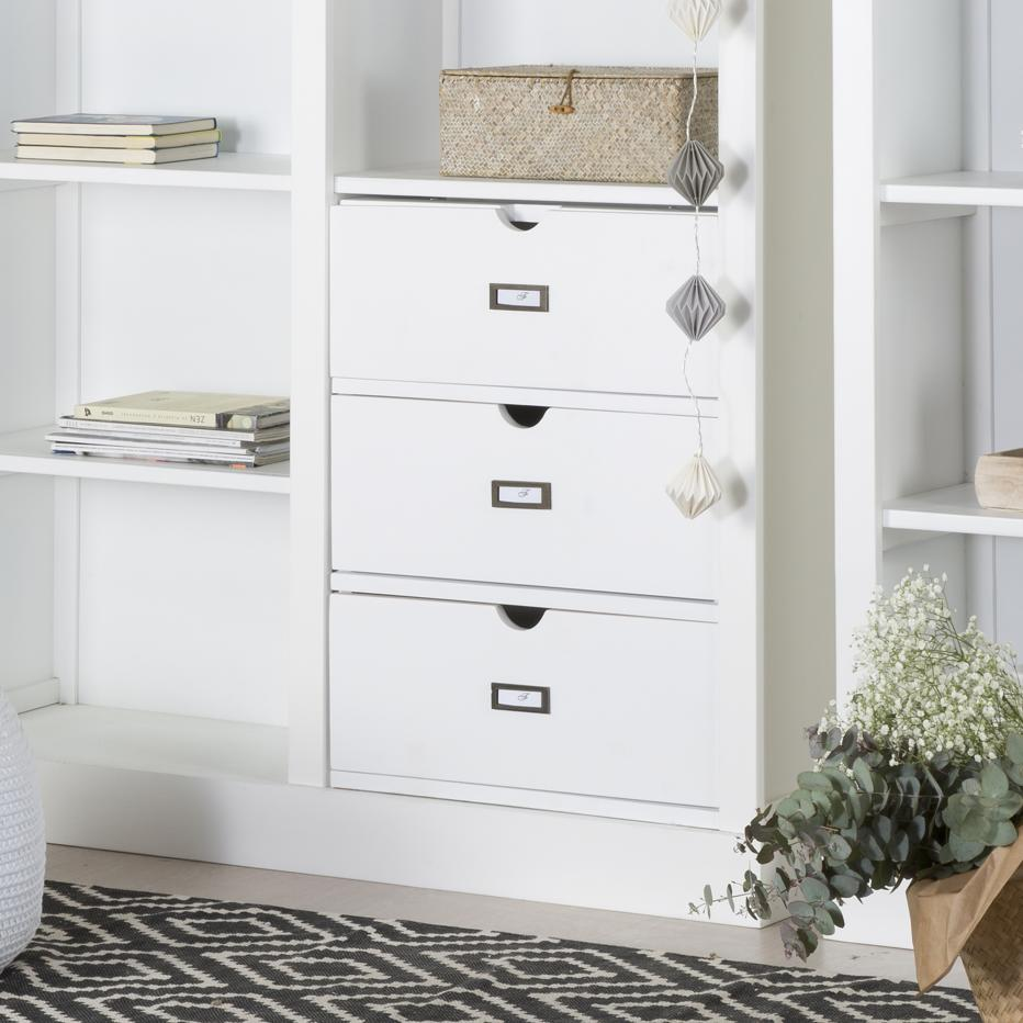 Tand unit 3 drawers for white shelves