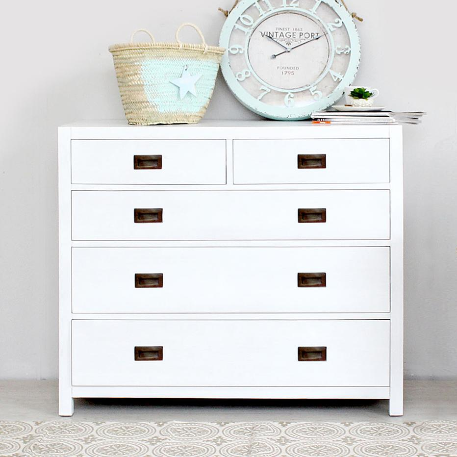 Nepal white chest 5 drawers