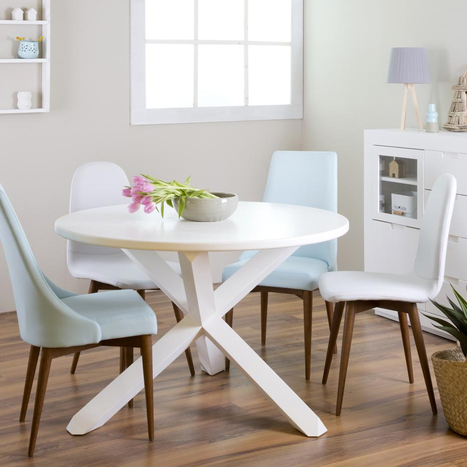 Carot wood dining table 120d white