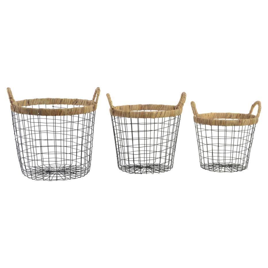 Powse set 3 cesta metal fibra 37x38 negro