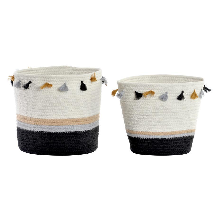 Teno set 2 cestas  flecos blanco /negro