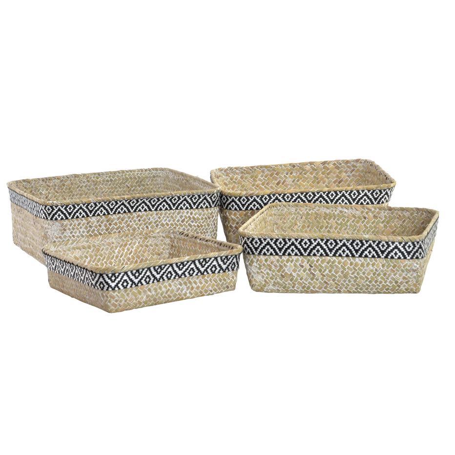 Soray cesta set 4 fibra poliester 27x27x9 boho negro