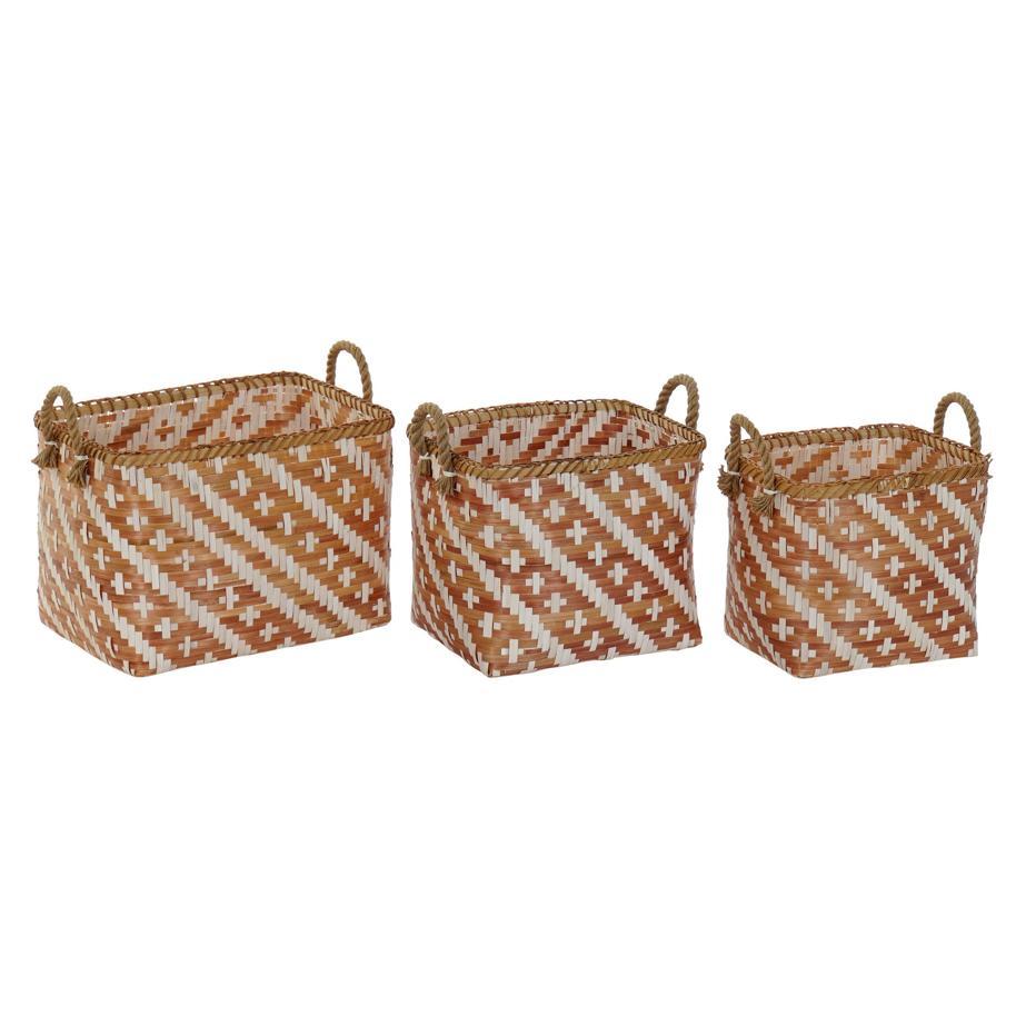 Acas set 3 brown bamboo baskets