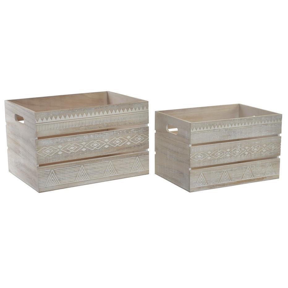 Elsa set 2 caja madera 40x30x25 cenefa blanco