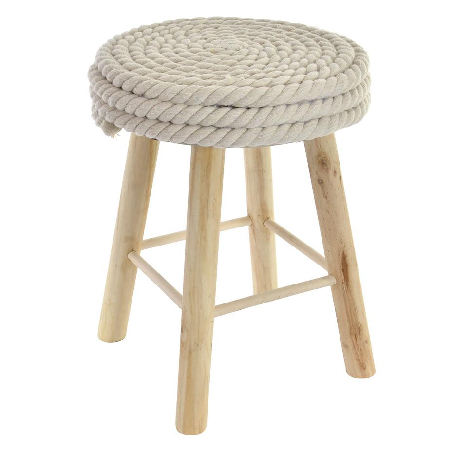 Ramys reposapies algodón madera 30x40 cuerda blanco