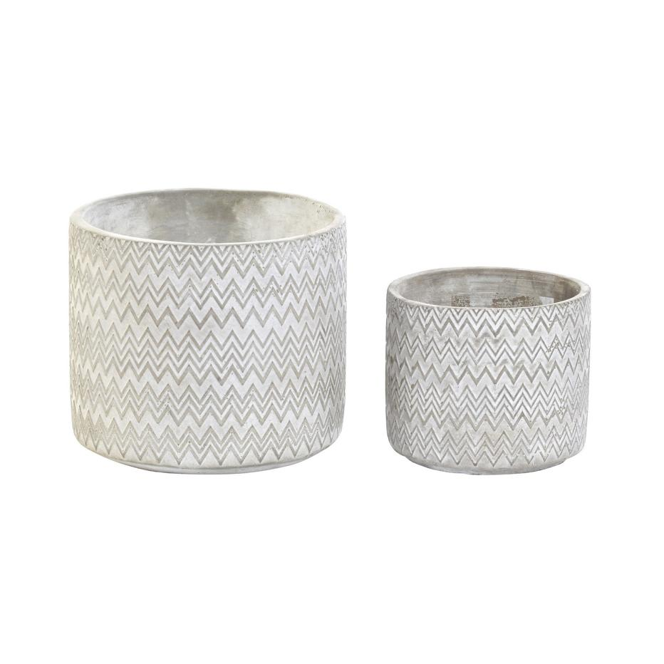Kuca set 2  maceteros cemento 12,5x12,5x11 zigzag