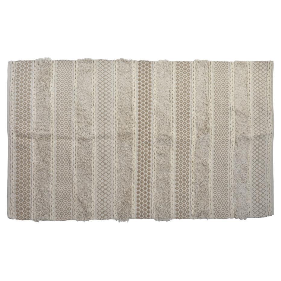 Adel alfombra algodon 180x120 flecos blanco