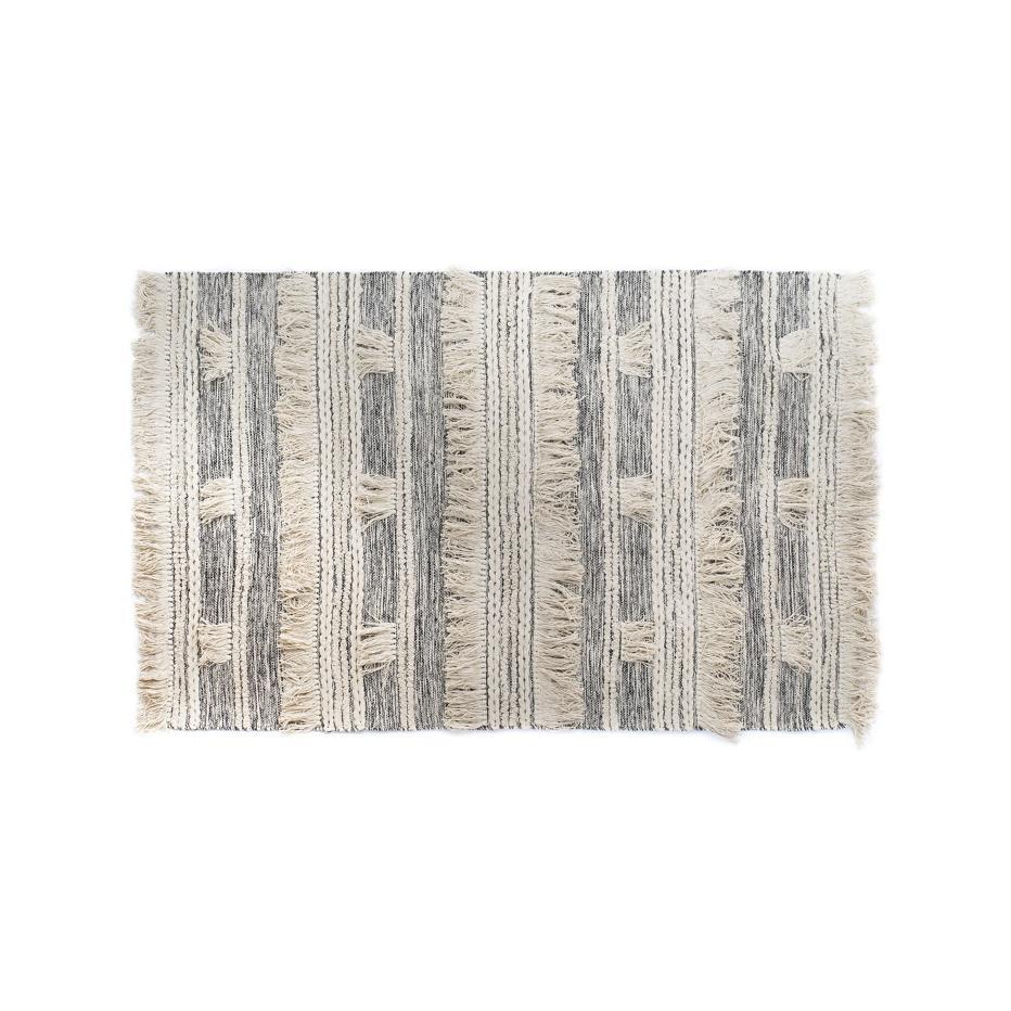Diza black fringes rug 120x180