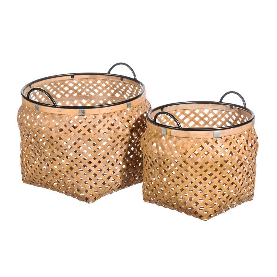 Kise set 2 cestos natural metal-bambú 42 x 42 x 33 cm