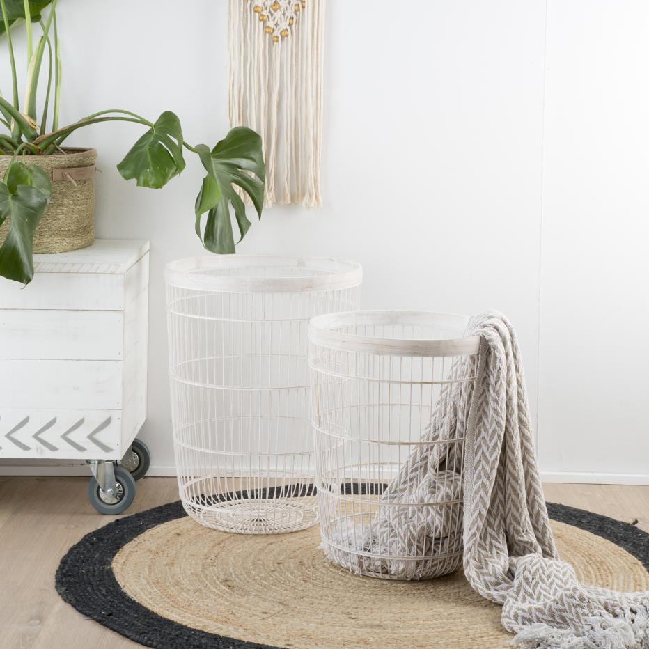 Vaen set 2 cestos blanco rozado bambú