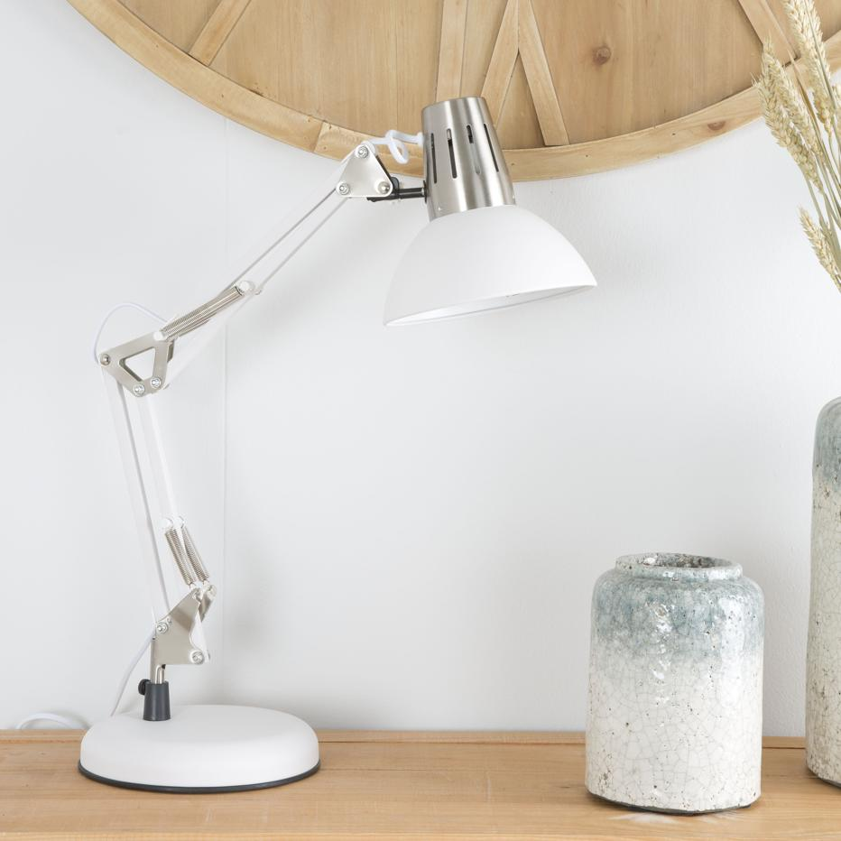 Arias white metal industrial table lamp