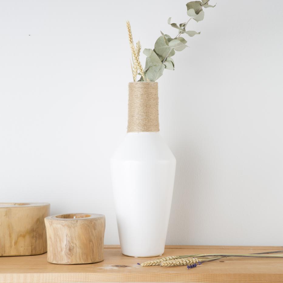 Jarrón blanco cerámica decoración 15,50x15,50x41