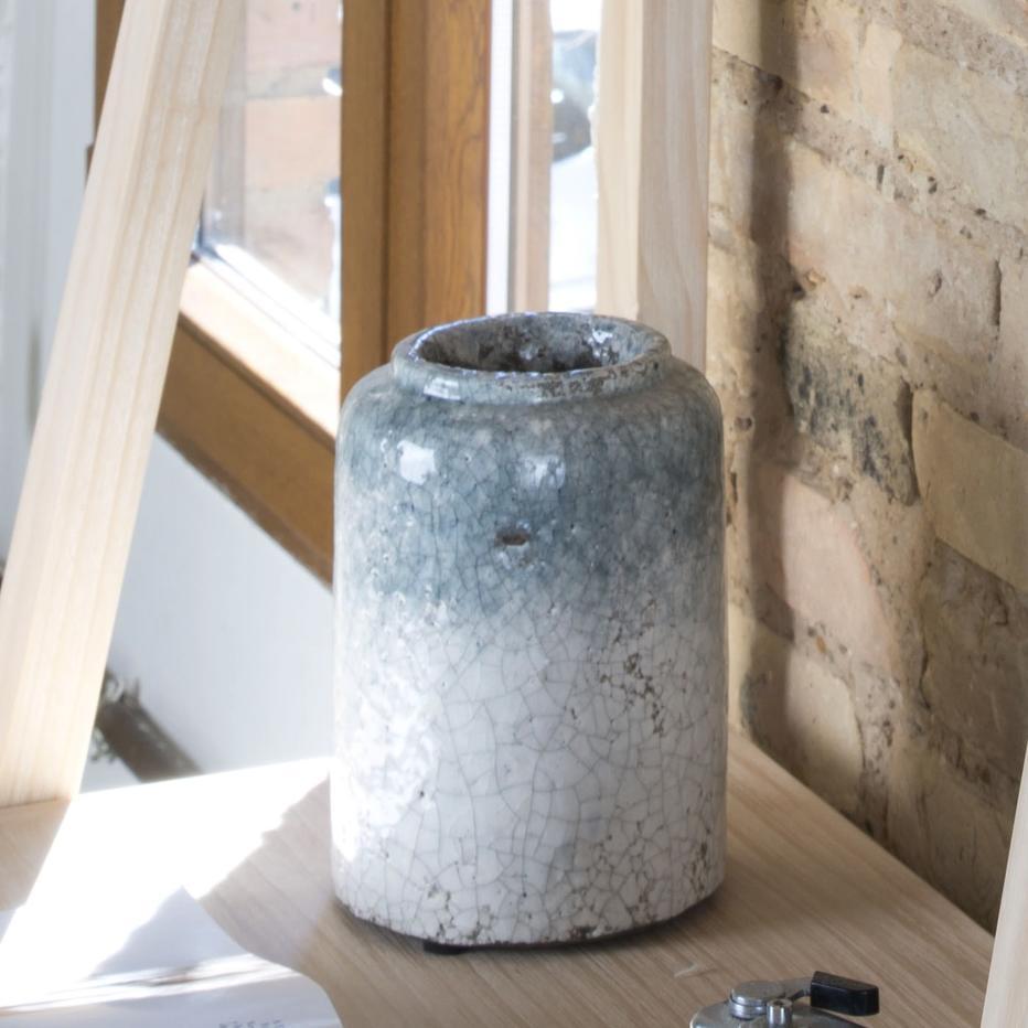 Jarrón craquelado azul-blanco cerámica 13x13x17 cm