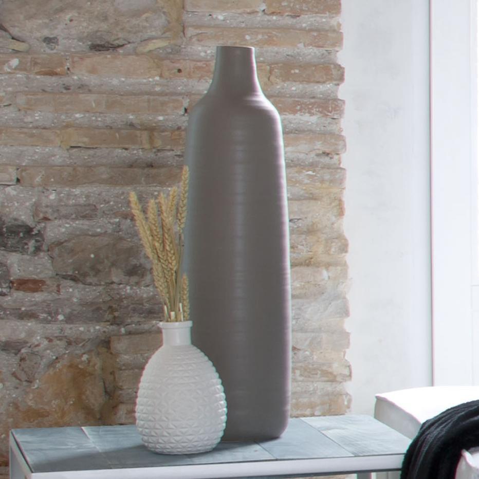 Yrest jarrón mate gris cerámica 16,50x16,50x61