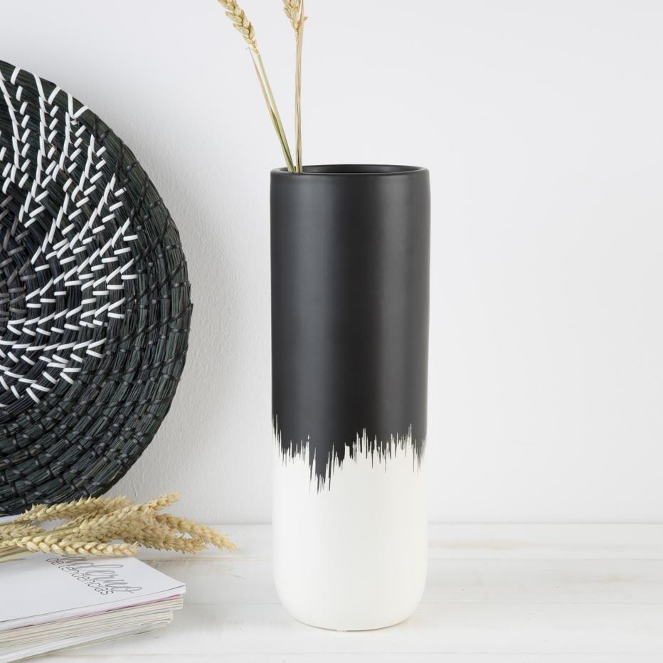 Wier jarrón mate negro-blanco cerámica
