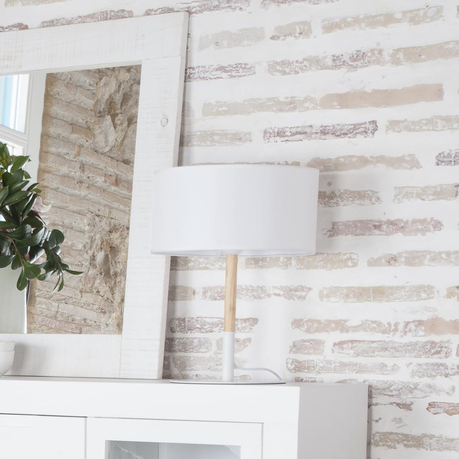 Fabu lámpara mesa blanco metal  / madera