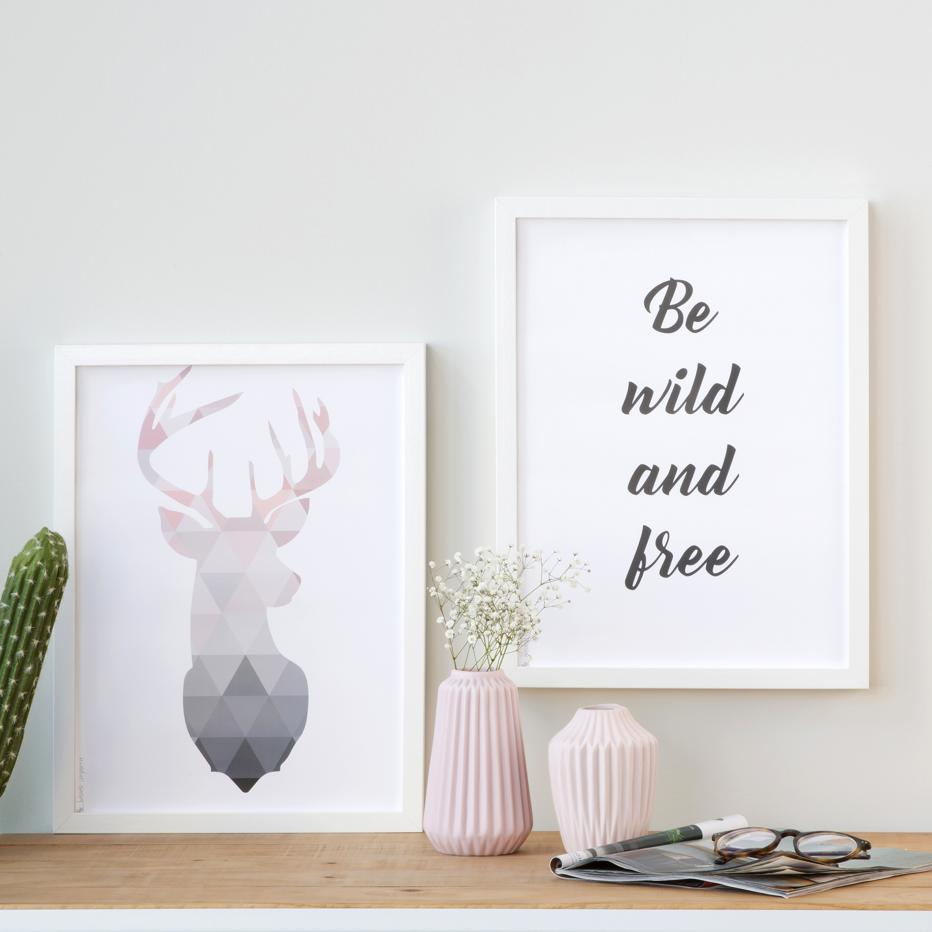 Set prints wild and free a3