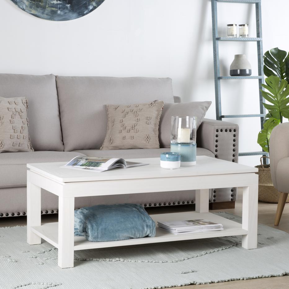 Liland mesa centro elevable blanco marfil