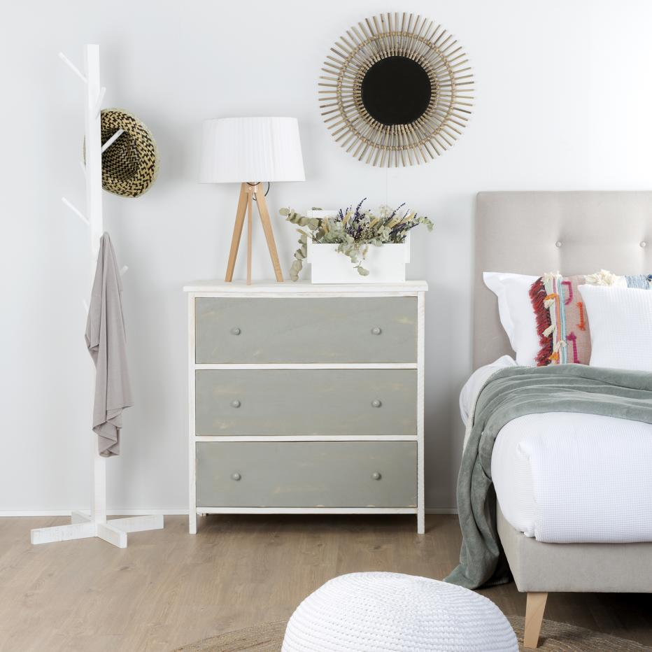 Ice white snow/ grey pearl  chest 3 drawers