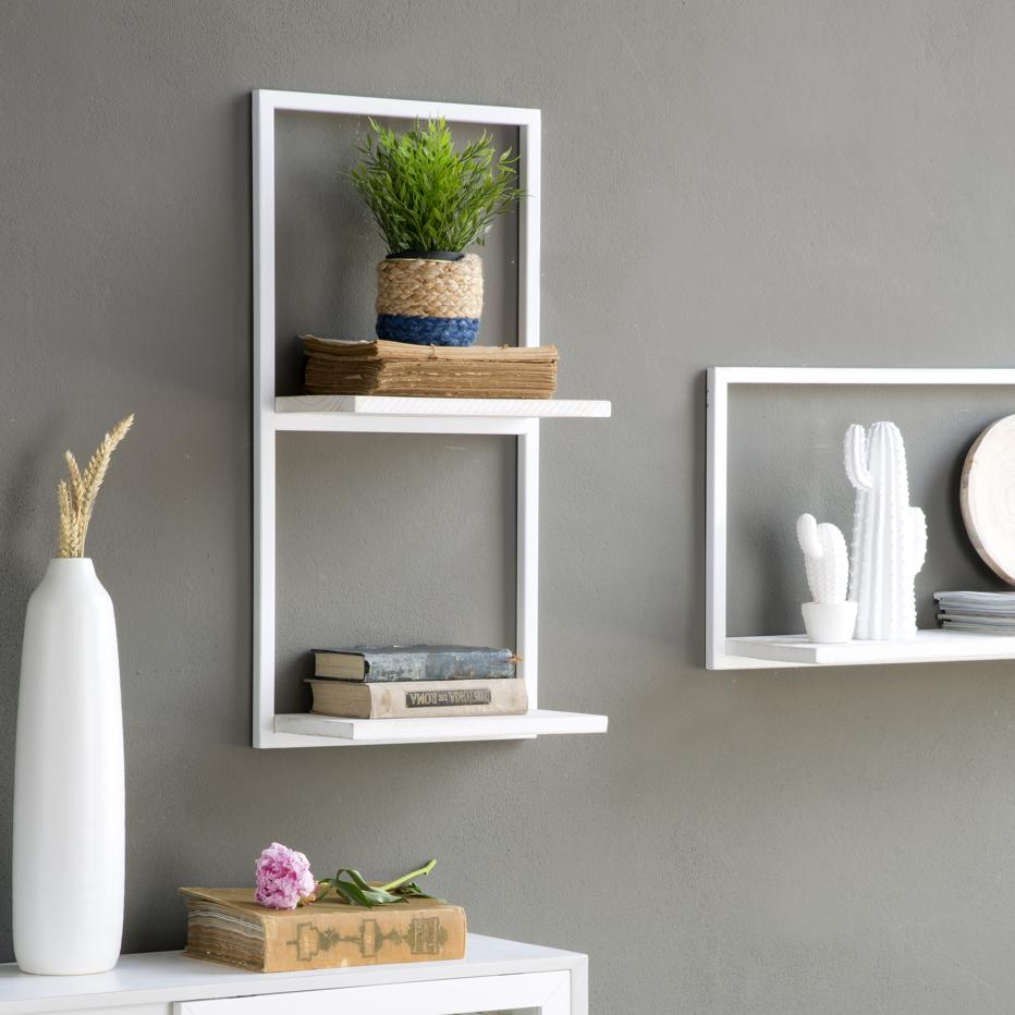 Nordic white vertical metal shelf