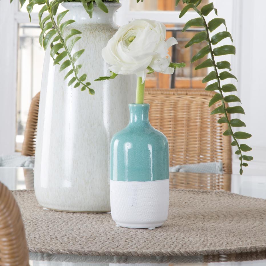 Piut jarron botella  h13 blanco-verde