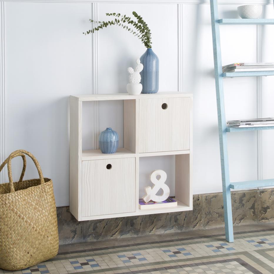 Osby mueble colgante blanco arenado 4 huecos