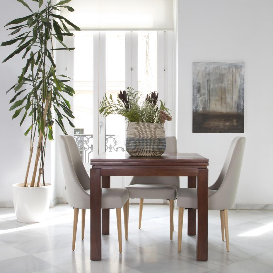 blay mesa extensible 90 180 teca banak importa. Black Bedroom Furniture Sets. Home Design Ideas
