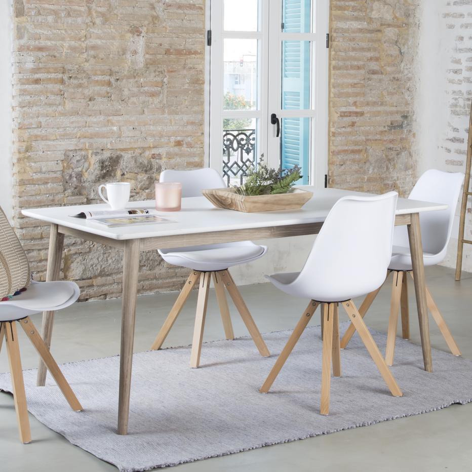 Naos mesa rectangular 160 blanco/topo