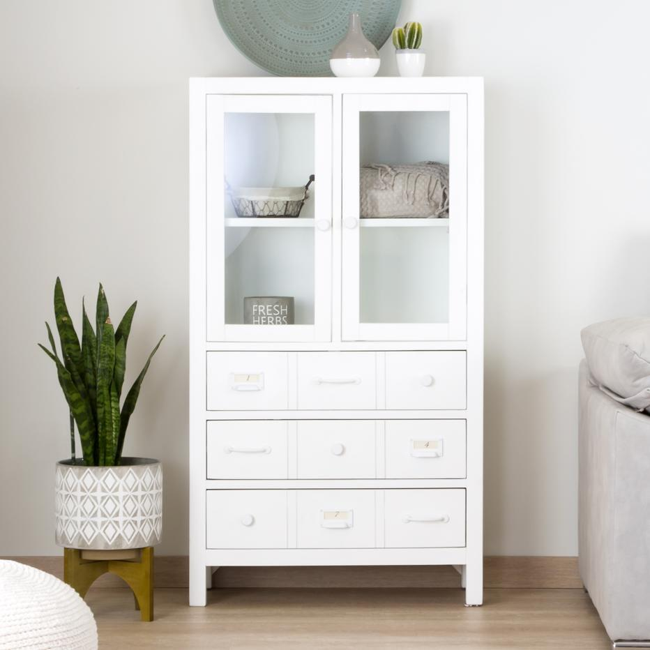 Doha narrow white glass cabinet