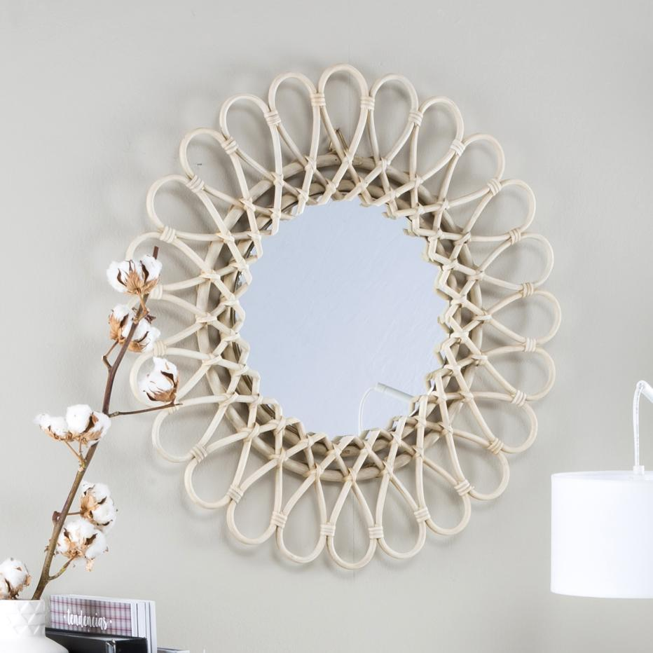 Aik grey natural rattan  mirror