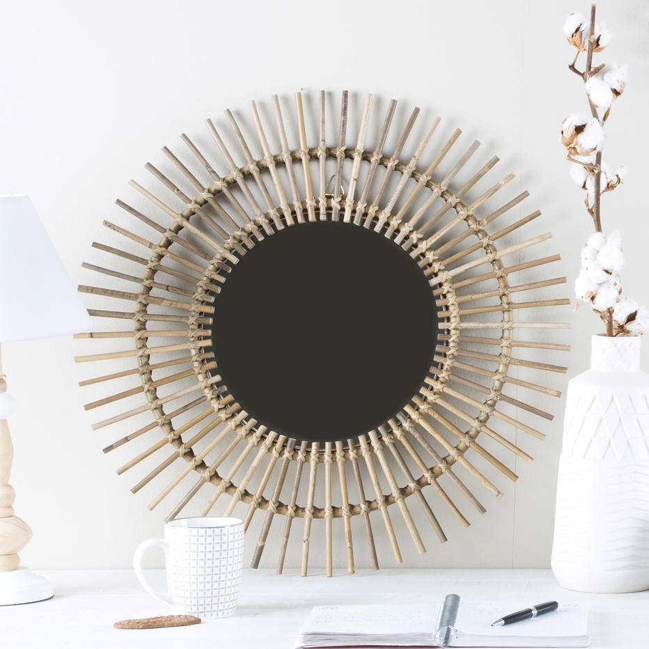 Ike grey rattan mirror