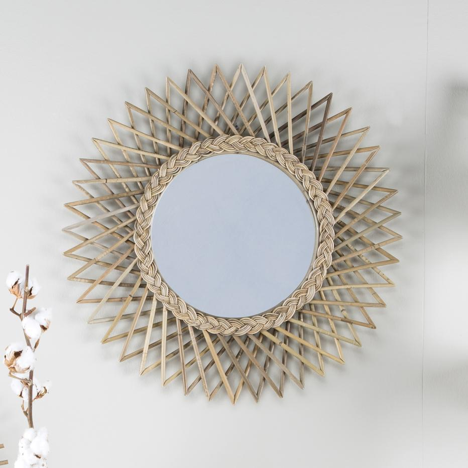 Angle espejo 60d rattan gris