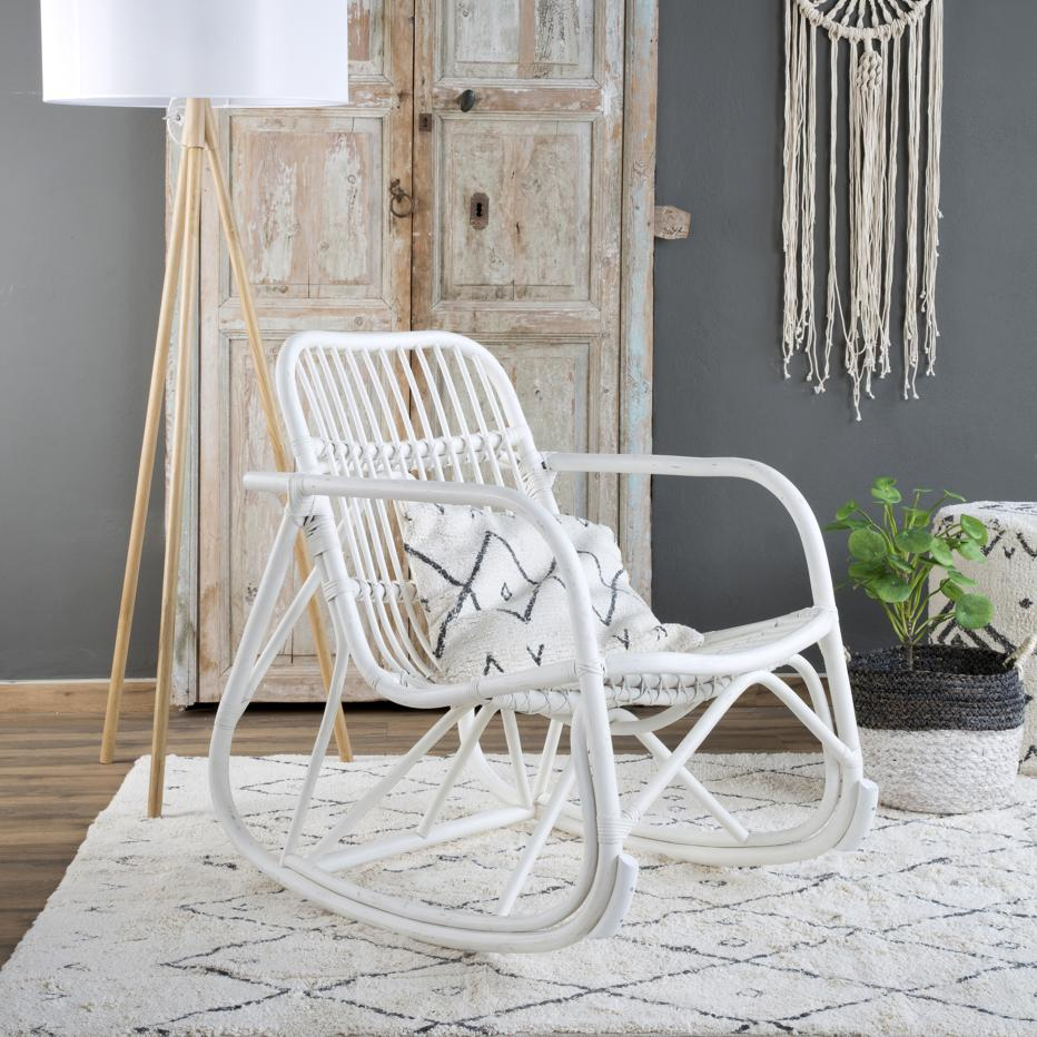 Kona white wash rattan rocking chair