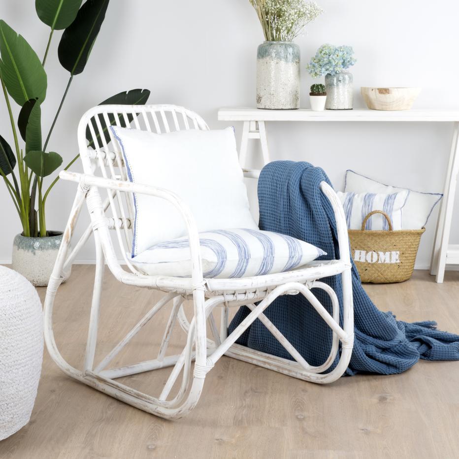 klaus fauteuil rotin blanc wash | banak importa