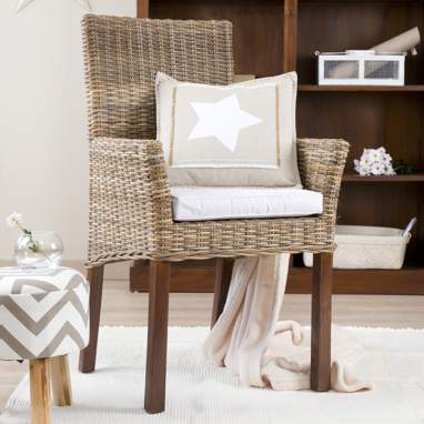 Koboo fauteuil rotin naturel avec appui-bras