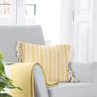 Purz mustard cushion 45x45