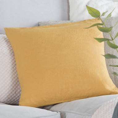 Mely funda cojín lino 45x45 amarillo