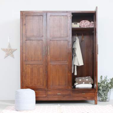 Sawan wardrove 3 removable doors teak
