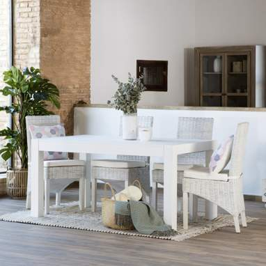 Alba white extendible table