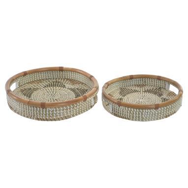 Drava set 2 bandejas bambu/  fibra zigzag