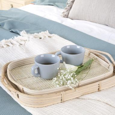 Tuge set 2 natural rattan trays