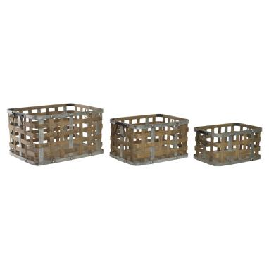 Kino set 3 bamboo/metal baskets