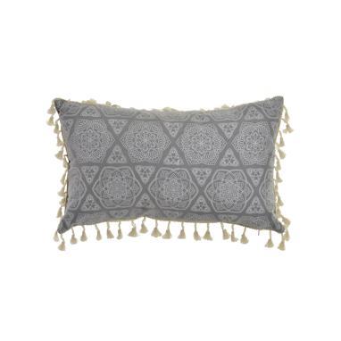 Peslo grey polyester mandala cushion
