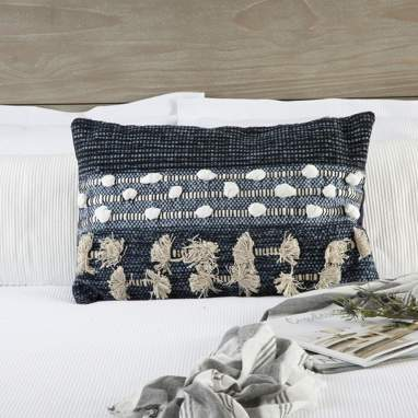 Isau blue embroidery cotton cushion