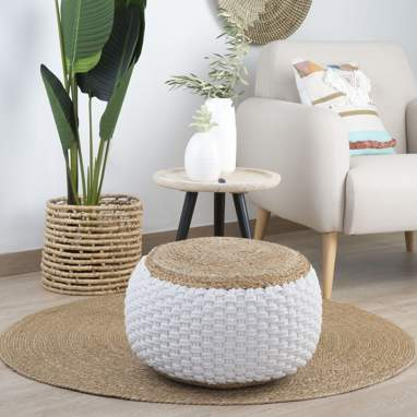 Kime jute-cotton plaited pouf