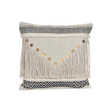 Kimi fringe white cotton cushion