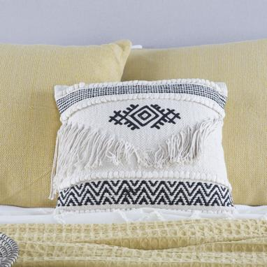Hami white embroidery cotton fringe cushion