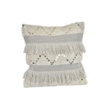 Vett white fringes cotton cushion