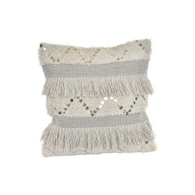 Vett almofada algodão tapeçaria c/franjas branca